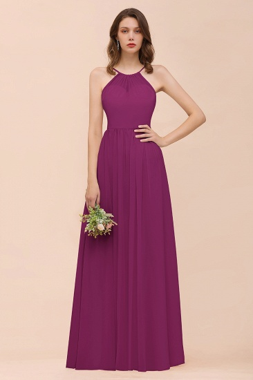 BMbridal Gorgeous Chiffon Halter Ruffle Affordable Long Bridesmaid Dress_42