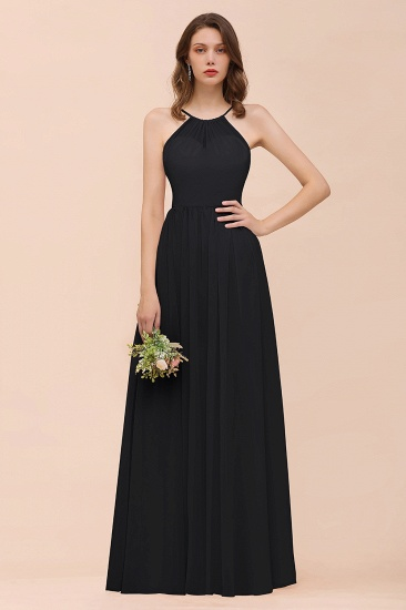 BMbridal Gorgeous Chiffon Halter Ruffle Affordable Long Bridesmaid Dress_29