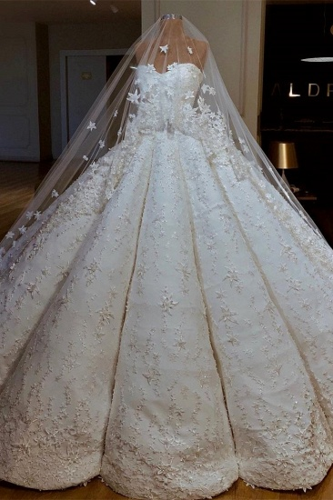 BMbridal Sexy Sweetheart A-line Satin Wedding Dresses With Appliques White Ruffles Lace Bridal Gowns Online_2