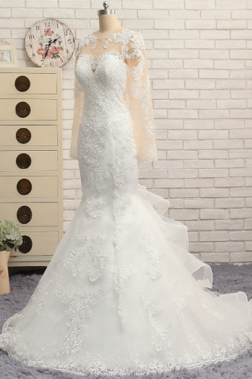 BMbridal Elegant Jewel Mermaid Lace Wedding Dress Long Sleeves White Appliques Bridal Gowns On Sale_4