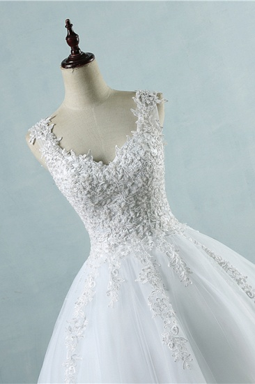 BMbridal Glamorous V-Neck Tulle Lace Beadings Wedding Dress Appliques Tulle Bridal Gowns with Rhinestones_5