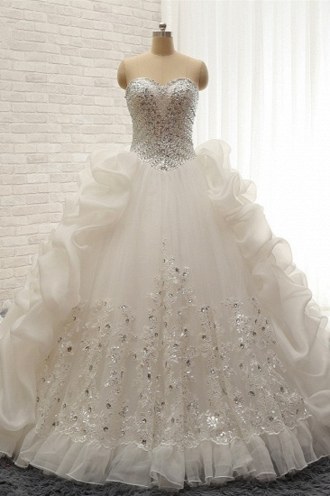 Glamorous Sweetheart White Sequins Wedding Dresses With Appliques Tulle Ruffles Bridal Gowns Online_2