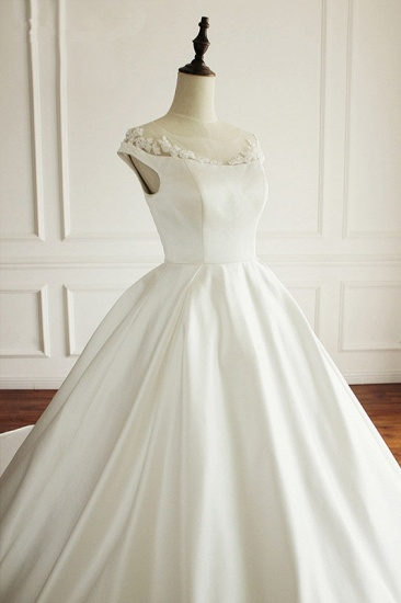 Simple A-Line Satin Jewel Ruffle Wedding Dress Tulle Lace Appliques Sleeveless Bridal Gowns On Sale_6