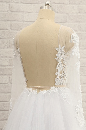Affordable White Tulle Ruffles Lace Wedding Dresses Jewel Longsleeves Bridal Gowns With Appliques On Sale_6