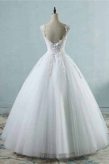BMbridal Glamorous V-Neck Tulle Lace Beadings Wedding Dress Appliques Tulle Bridal Gowns with Rhinestones_3