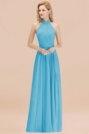 Gorgeous High-Neck Halter Backless Bridesmaid Dress Dusty Rose Chiffon Maid of Honor Dress_24