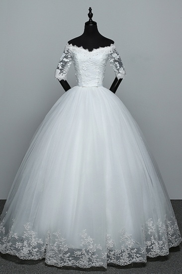 Gorgeous Off-the-Shoulder Sweetheart Wedding Dress Tulle Lace White Bridal Gowns with Half Sleeves_1