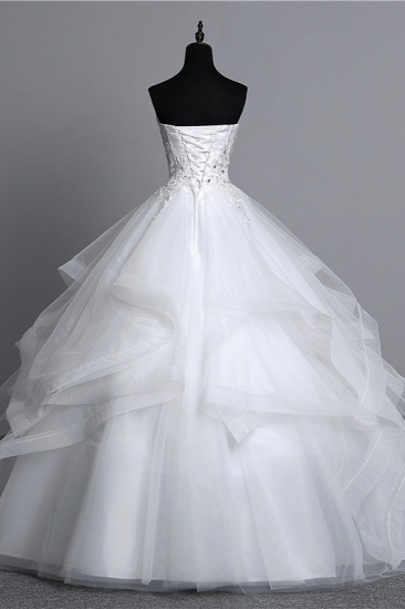 Gorgeous Strapless Tulle Layers Wedding Dress Appliques Beadings Bridal Gowns Online_3