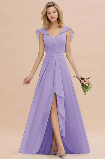 Modest Hi-Lo V-Neck Ruffle Long Bridesmaid Dress with Slit_21