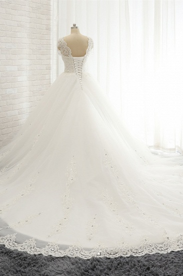 Glamorous V neck Straps White Wedding Dresses With Appliques A line Sleeveless Tulle Bridal Gowns Online_3