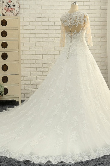 BMbridal Elegant A-Line Jewel White Tulle Lace Wedding Dress 3/4 Sleeves Appliques Bridal Gowns with Pearls_4