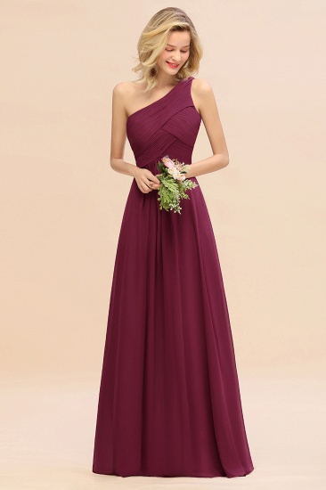 Chic One Shoulder Ruffle Grape Chiffon Bridesmaid Dresses Online_44