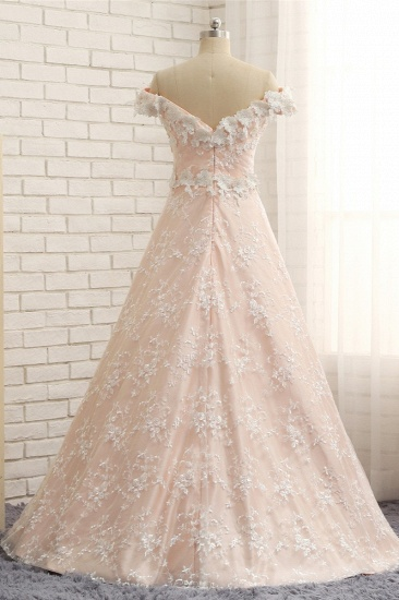 BMbridal Chic Off-the-shoulder Pink A-line Wedding Dresses With Appliques V-neck Lace Bridal Gowns Online_3