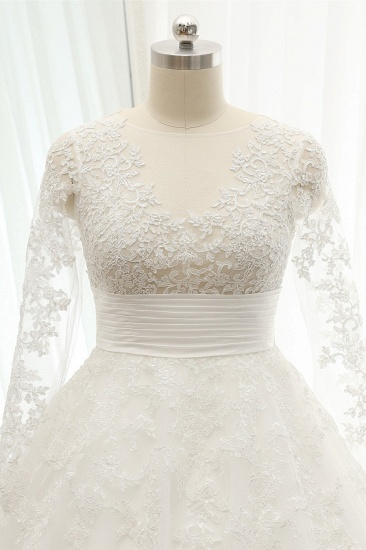 BMbridal Chic Longsleeves Jewel A line Wedding Dresses White A line Tulle Bridal Gowns With Appliques Online_5
