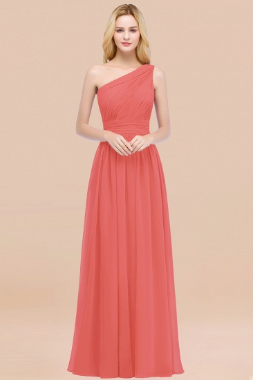 Chic One-shoulder Sleeveless Burgundy Chiffon Bridesmaid Dresses Online_7