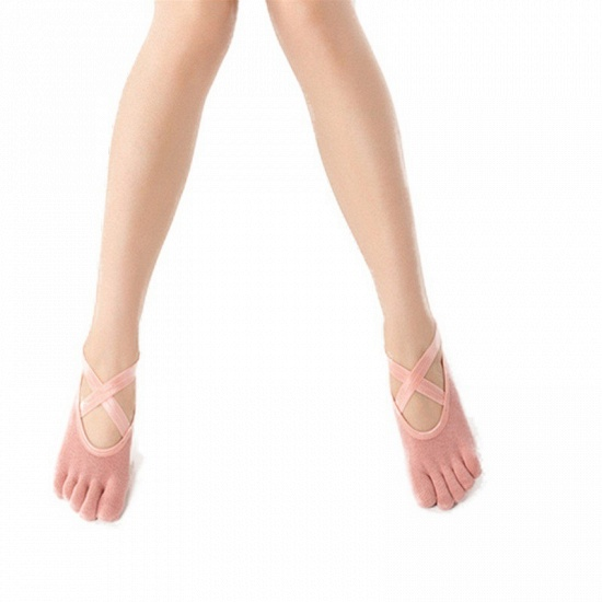 BMbridal 3 Pairs Comfortable Cotton Long One-size Yoga Socks Five-finger Wear-resistant Non-slip Four Season Breathable Split Toe Point_9