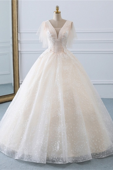 BMbridal Gorgeous Ball Gown V-Neck Tulle Beadings Wedding Dress Rhinestones Appliques Bridal Gowns with Short Sleeves On Sale_1