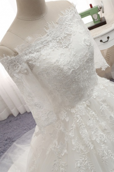 Gorgeous Bateau Halfsleeves White Wedding Dresses With Appliques A-line Tulle Ruffles Bridal Gowns Online_5