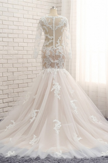BMbridal Elegant Longsleeves Jewel Mermaid Wedding Dresses Champagne Tulle Bridal Gowns With Appliques On Sale_3