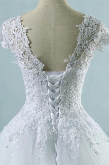 Elegant V-Neck Tull Lace White Wedding Dress Short Sleeves Appliques Bridal Gowns Online_5
