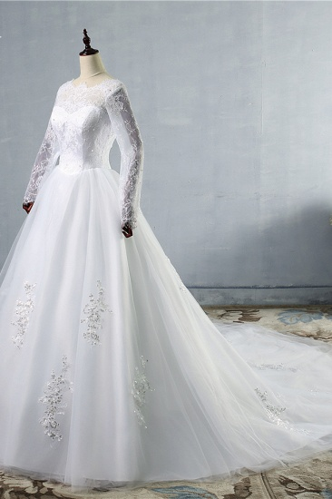 BMbridal Elegant Jewel Tulle Lace Wedding Dress Long Sleeves Appliques Sequins Bridal Gowns On Sale_5