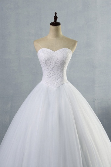 Affordable Strapless Sweetheart Tulle Wedding Dress Sleeveless Lace Appliques Bridal Gowns On Sale_5
