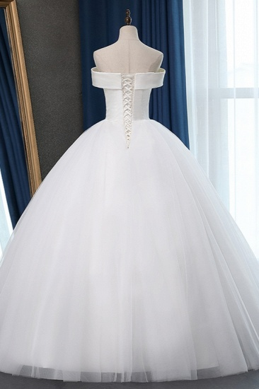 Glamorous Off-the-shoulder A-line Tulle Wedding Dresses White Ruffles Bridal Gowns On Sale_3