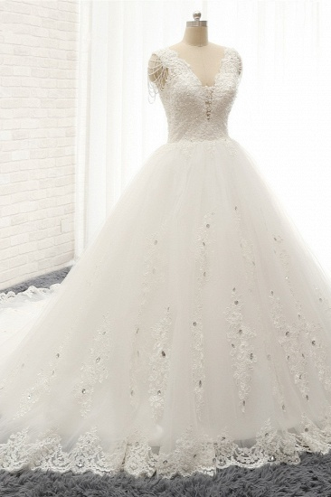 Glamorous V neck Straps White Wedding Dresses With Appliques A line Sleeveless Tulle Bridal Gowns Online_2
