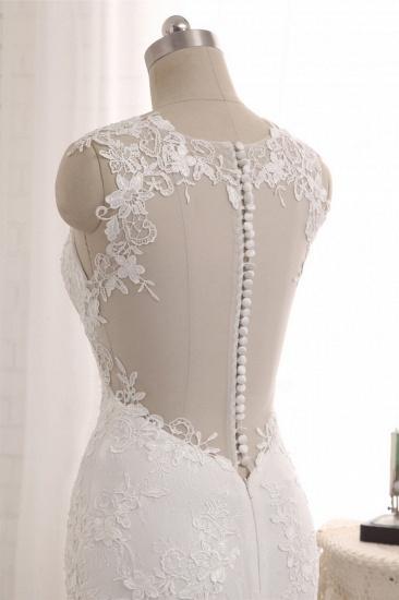 Elegant Straps V-Neck Tulle Lace Mermaid Wedding Dress Appliques Sleeveless Bridal Gowns On Sale_6