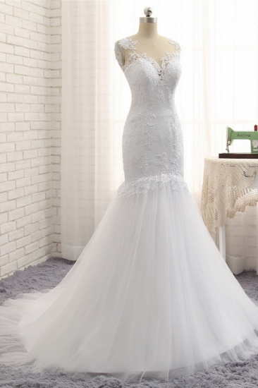 Stunning Jewel White Tulle Lace Wedding Dress Appliques Sleeveless Bridal Gowns On Sale_4