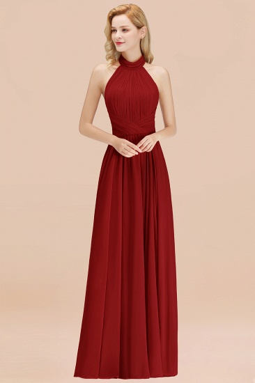 Gorgeous High-Neck Halter Backless Bridesmaid Dress Dusty Rose Chiffon Maid of Honor Dress_48