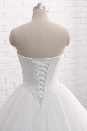 BMbridal Chic Ball Gown Strapless White Tulle Wedding Dress Sleeveless Bridal Gowns On Sale_6
