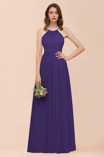 BMbridal Gorgeous Chiffon Halter Ruffle Affordable Long Bridesmaid Dress_19