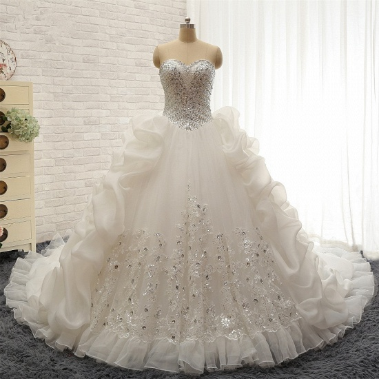 Glamorous Sweetheart White Sequins Wedding Dresses With Appliques Tulle Ruffles Bridal Gowns Online_7