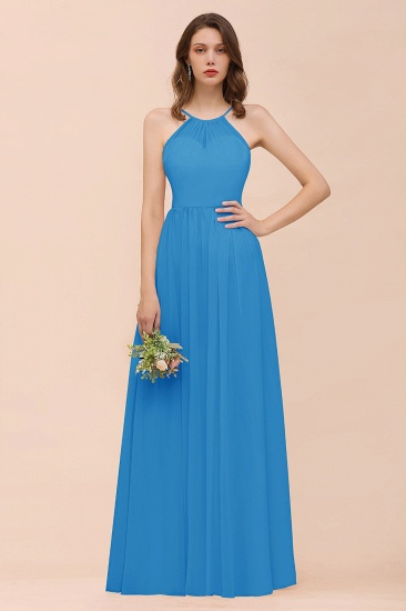 BMbridal Gorgeous Chiffon Halter Ruffle Affordable Long Bridesmaid Dress_25