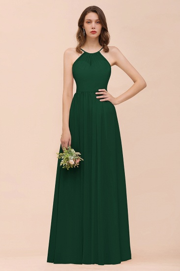 BMbridal Gorgeous Chiffon Halter Ruffle Affordable Long Bridesmaid Dress_31