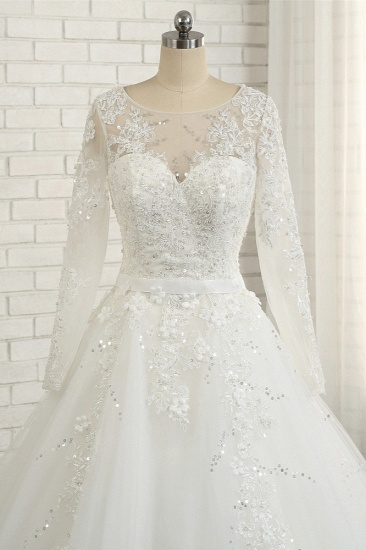 Modest Jewel Longsleeves White Wedding Dresses A-line Tulle Ruffles Bridal Gowns On Sale_5