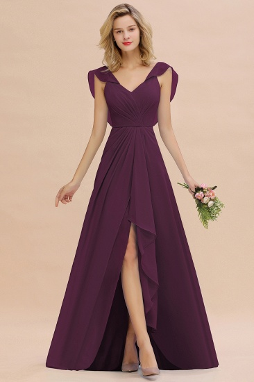 Modest Hi-Lo V-Neck Ruffle Long Bridesmaid Dress with Slit_20