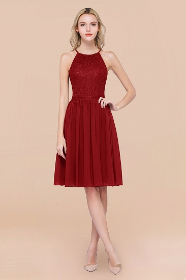 Lovely Burgundy Lace Short Bridesmaid Dress With Spaghetti-Straps_48