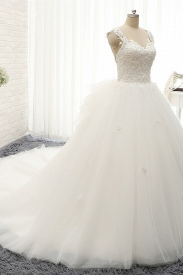 Chic Straps Sleeveless Tulle Wedding Dresses With Appliques White A-line Bridal Gowns Online_4