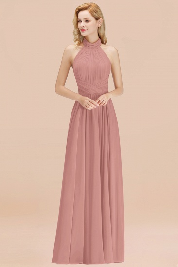Gorgeous High-Neck Halter Backless Bridesmaid Dress Dusty Rose Chiffon Maid of Honor Dress_50