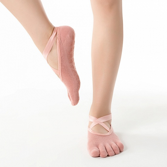 BMbridal 3 Pairs Comfortable Cotton Long One-size Yoga Socks Five-finger Wear-resistant Non-slip Four Season Breathable Split Toe Point_7