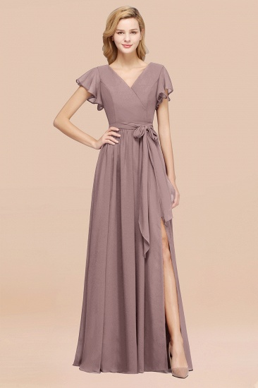 BMbridal Burgundy V-Neck Long Bridesmaid Dress With Short-Sleeves_37