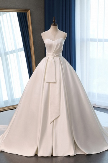Elegant Sweetheart White Satin Wedding Dress A-line Ruffles Bridal Gowns On Sale_1