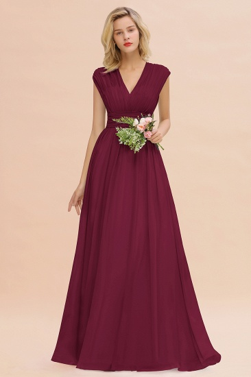 Elegant Chiffon V-Neck Ruffle Long Bridesmaid Dresses Affordable_44