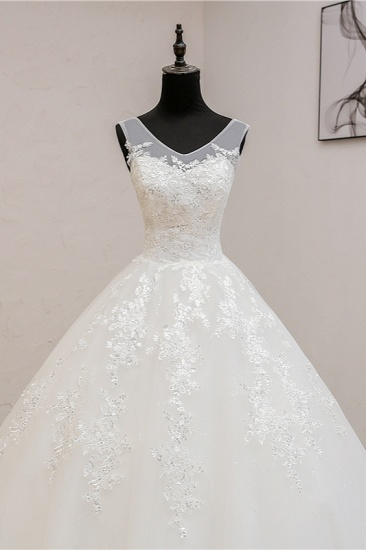 BMbridal Glamorous Sweetheart Tulle Lace Wedding Dress Ball Gown Sleeveless Appliques Ball Gowns On Sale_6