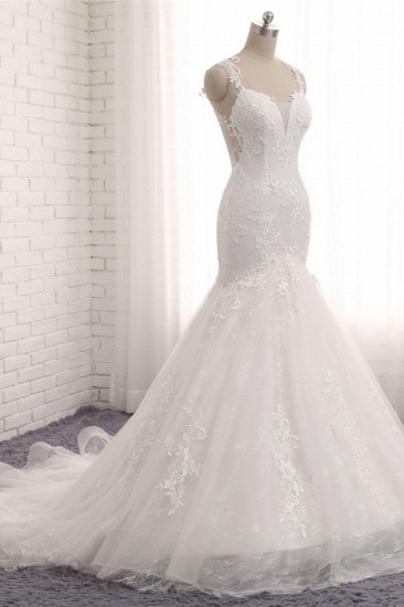Elegant Straps V-Neck Tulle Lace Mermaid Wedding Dress Appliques Sleeveless Bridal Gowns On Sale_4