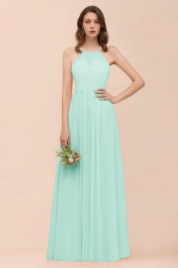 BMbridal Gorgeous Chiffon Halter Ruffle Affordable Long Bridesmaid Dress_36