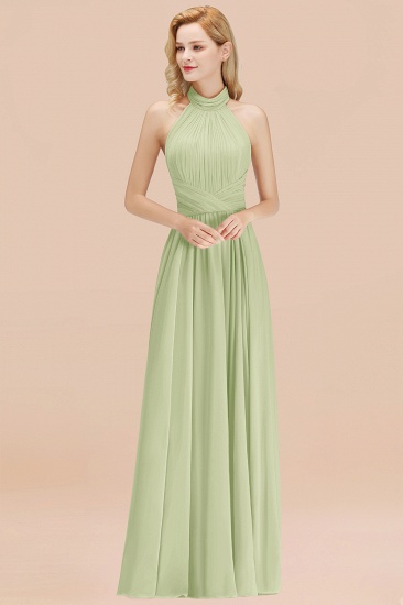 Gorgeous High-Neck Halter Backless Bridesmaid Dress Dusty Rose Chiffon Maid of Honor Dress_35