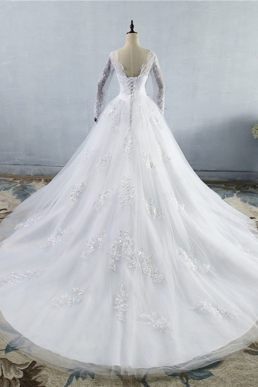 BMbridal Elegant Jewel Tulle Lace Wedding Dress Long Sleeves Appliques Sequins Bridal Gowns On Sale_3